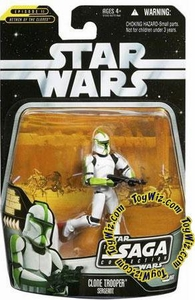 Star Wars Saga 2006 Basic Action Figure #60 Clone Trooper Sergeant [Green]