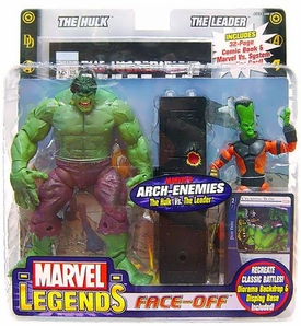 Marvel Legends Face Off Series 1 Action Figure Twin Pack Hulk Yelling vs. Leader Thin Head Variant