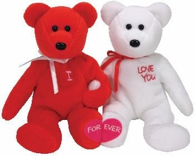 Ty Beanie Baby I (Heart) You the Red & White Bears Holding Hands
