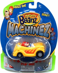 Mighty Beanz Machinez Yellow Hotrod with Exclusive Hot-Rod Bean #348