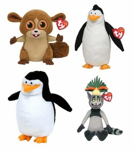 Ty Madagascar Beanie Baby Set of 4 Beanie Babies [King Julien, Skipper, Mort, Rico]