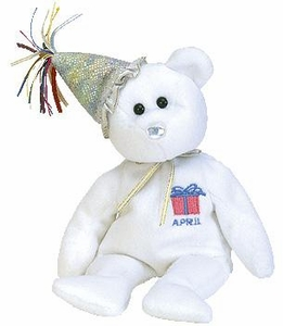Ty Beanie Baby April the New Version Birthday Bear