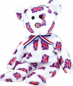 Ty Beanie Baby Exclusive Jack the UK with Flag Nose Bear