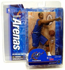 McFarlane Toys NBA Sports Picks Series 12 Action Figure Gilbert Arenas (Washington Wizards) Blue Jersey Yellowed Package!