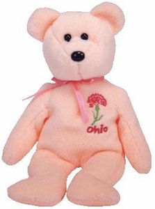 Ty Beanie Baby Ohio Scarlet Carnation Flower Bear