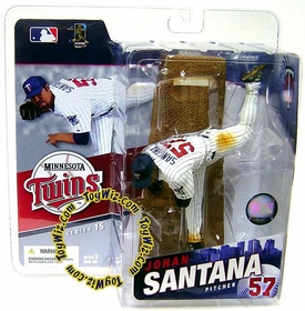McFarlane Toys MLB Sports Picks Series 15 Action Figure Johan Santana (Minnesota Twins) White Jersey
