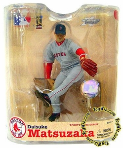 McFarlane Toys MLB Sports Picks Series 21 Action Figure Daisuke Matsuzaka (Boston Red Sox) Grey Jersey Variant with World Series Patches