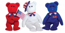 Ty Beanie Baby John Adams,Thomas Jefferson and Benjamin Franklin the Bear