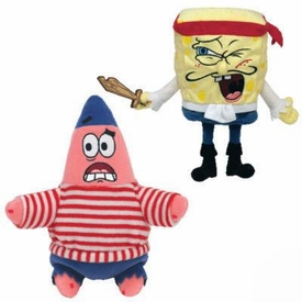Ty Spongebob Squarepants Beanie Baby Set of 2 Beanies Captain Spongebob & First Mate Patrick
