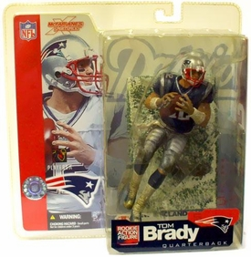 McFarlane Toys NFL Sports Picks Series 5 Action Figure Tom Brady (New England Patriots) Blue Jersey Snow Variant Slightly Yellowed Packaged!