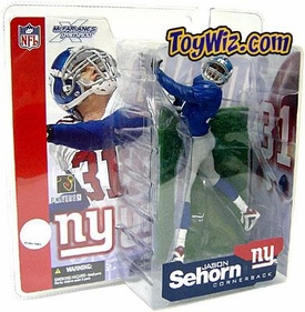 McFarlane Toys NFL Sports Picks Series 4 Action Figure Jason Sehorn (New York Giants)  Blue Jersey Variant