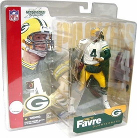 McFarlane Toys NFL Sports Picks Series 4 Action Figure Brett Favre (Green Bay Packers) White Jersey Green Sleeves Variant