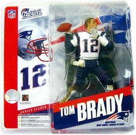 McFarlane Toys NFL Sports Picks Series 11 Action Figure Tom Brady (New England Patriots) White Jersey No Helmet with Eye Black Variant