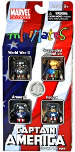 Marvel Minimates Exclusive Mini Figure 4-Pack Captain America Through the Ages [World War II, Suspended Animation, Armored & Reborn]