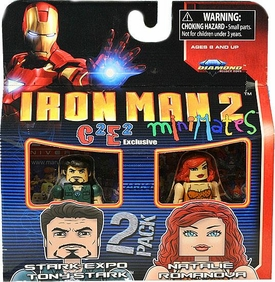 Marvel MiniMates Exclusive Mini Figure 2-Pack Iron Man 2 Stark Expo Tony Stark & Natalie Romanova