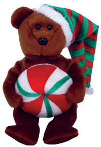 Ty Beanie Baby Yummy the Christmas Bear [Peppermint]