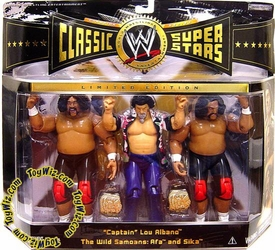 WWE Jakks Pacific Wrestling Classic Superstars Exclusive Action Figure 3-Pack Captain Lou Albano with Wild Samoans Afa & Sika