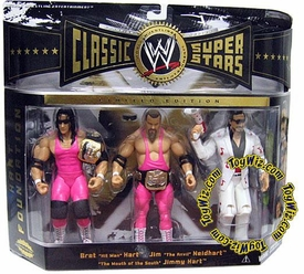 WWE Wrestling Classic Superstars Exclusive Series 4 Action Figure 3-Pack Jim Neidhart, Bret Hart & Jimmy Hart [Hart Foundation]