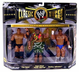 WWE Wrestling Classic Superstars Limited Edition Champion Series 3-Pack The Rock, High Chief Peter Maivia & Rocky Johnson