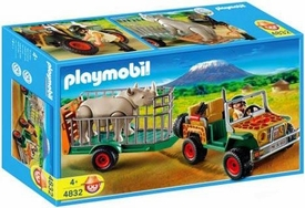 Playmobil Zoo Animal Clinic Set #4832 Rangers Vehicle with Rhino