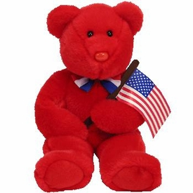 Ty Beanie Buddy Thomas the Red Bear (w/flag)
