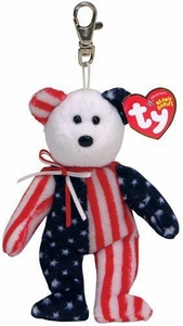 Ty Beanie Buddy Keychain Spangle the American Bear
