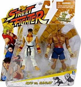 Jazwares Street Fighter Classic 4 Inch Action Figure 2-Pack Ryu Vs. Sagat