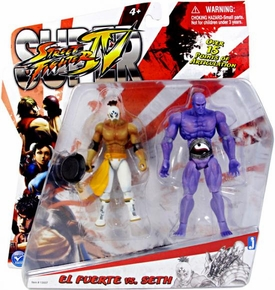 Jazwares Street Fighter Modern 4 Inch Action Figure 2-Pack El Fuerte Vs. Seth
