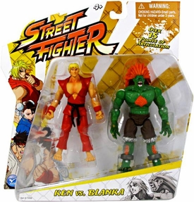 Jazwares Street Fighter Classic 4 Inch Action Figure 2-Pack Ken Vs. Blanka