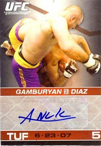 Topps UFC Ultimate Fighting Championship Round 1 Autograph Card Manny Gamburyan [Blue Ink]