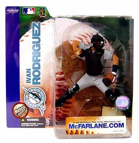 McFarlane Toys MLB Sports Picks Series 7 Action Figure Ivan Rodriguez (Florida Marlins) Retro Variant Sun Damaged Package, Mint Contents!
