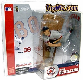 McFarlane Toys MLB Sports Picks Series 10 Action Figure Curt Schilling (Boston Red Sox) Gray Jersey Variant Sun Damaged Package, Mint Contents!