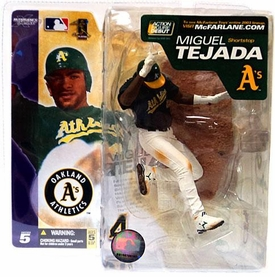 McFarlane Toys MLB Sports Picks Series 5 Action Figure Miguel Tejada (Oakland Athletics) Green Jersey & White Pants