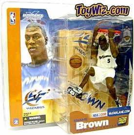 McFarlane Toys NBA Sports Picks Series 2 Action Figure Kwame Brown (Washington Wizards) White Jersey Variant