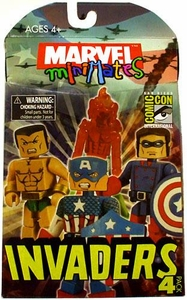 Diamond Select Toys Marvel Minimates 2009 SDCC San Diego Comic-Con Exclusive Mini Figure 4-Pack Invaders [Captain America, Bucky, Human Torch & Namor]