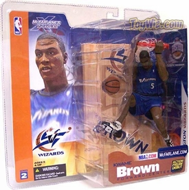 McFarlane Toys NBA Sports Picks Series 2 Action Figure Kwame Brown (Washington Wizards) Blue Jersey