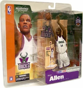 McFarlane Toys NBA Sports Picks Series 2 Action Figure Ray Allen (Milwaukee Bucks) White Jersey