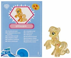My Little Pony Friendship is Magic 2 Inch PVC Figure Series 3 Glitter Applejack [Blue Card]