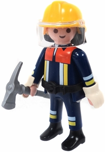 Playmobil LOOSE Mini Figure Firefighter with Axe, Yellow Helmet & Face Shield