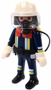 Playmobil LOOSE Mini Figure Firefighter with Respirator, White Helmet & Face Shield