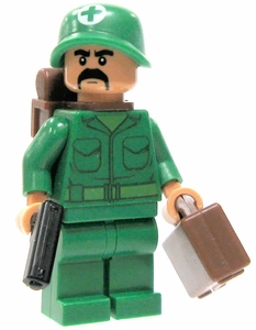 LEGO Military LOOSE Custom Mini Figure U.S. Male Medic [Includes BrickArms Pistol]