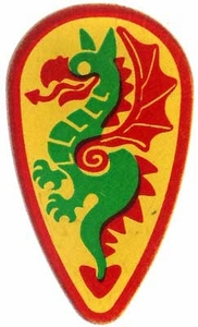 LEGO Castle LOOSE Shield Large Green & Red Dragon on Yellow Shield