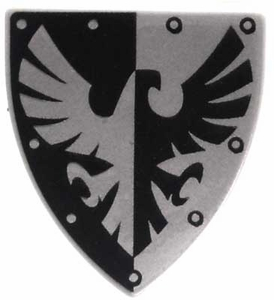 LEGO Castle LOOSE Shield Small Black & Silver Eagle Shield