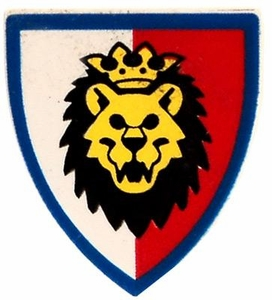 LEGO Kingdoms LOOSE Shield Small Red, White & Blue Shield with Crowned Lion Shield