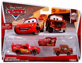 Disney / Pixar CARS MAINLINE 1:55 Die Cast Car 2-Pack Sign Lightning McQueen & Fred [Rust-eze Racing 5 & 6/8]