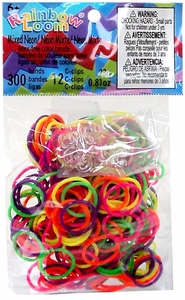 Official Rainbow Loom 300 Ct. SILICONE Rubber Band Refill Pack LIMITED EDITION Mixed Neon [Includes 12 C-Clips!]