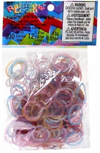 Official Rainbow Loom 300 Ct. SILICONE Rubber Band Refill Pack LIMITED EDITION Enchanted Glitter [Includes 12 C-Clips!]