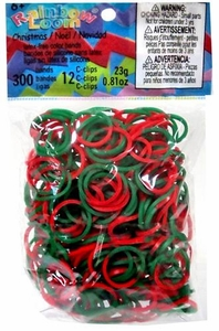 Official Rainbow Loom 300 Ct. SILICONE Rubber Band Refill Pack Christmas Green & Red Tie Dye [Includes 12 C-Clips!]