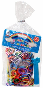 Rainbow Loom Party Favor Goody Bag [Mini Loom Bracelet Maker, 600 Multi-Color Bands & 5 S-Clips] RANDOM STYLE BAG