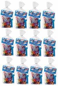 Lot of 12 Party Favor Goody Bags [Mini Loom Bracelet Maker, 600 Multi-Color Bands & 5 S-Clips] Random Style Plastic Baggies!